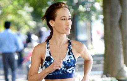 Maggie Q Jogs Through NYC in Cool Matching Leggings and Sports Bra