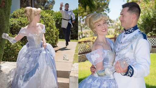 Woman born with congenital amputation dresses as Cinderella with glass arm