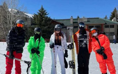Kourtney Kardashian Hangs Out with Travis Barker and His Kids in Ski Vacation Photos
